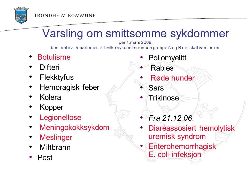 Varsling om smittsomme sykdommer per 1.mars 2009, bestemt av Departementet hvilke sykdommer innen gruppe A og B det skal varsles om Botulisme Difteri