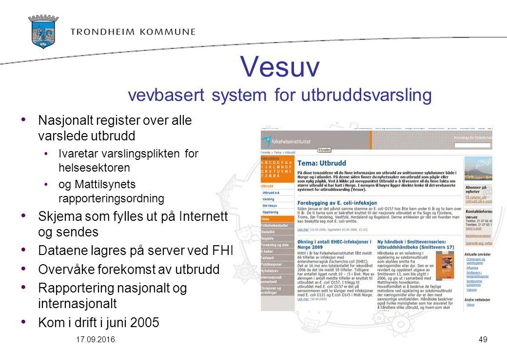 Vesuv vevbasert system for utbruddsvarsling Nasjonalt register over alle varslede utbrudd Ivaretar varslingsplikten for helsesektoren og Mattilsynets