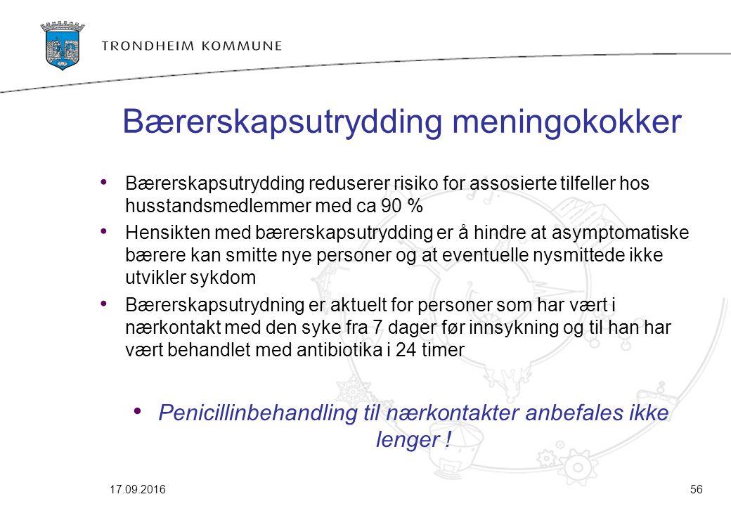 Bærerskapsutrydding meningokokker Bærerskapsutrydding reduserer risiko for assosierte tilfeller hos husstandsmedlemmer med ca 90 % Hensikten med bærer