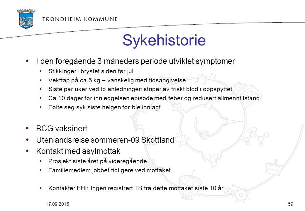 Sykehistorie I den foregående 3 måneders periode utviklet symptomer Stikkinger i brystet siden før jul Vekttap på ca.5 kg – vanskelig med tidsangivels