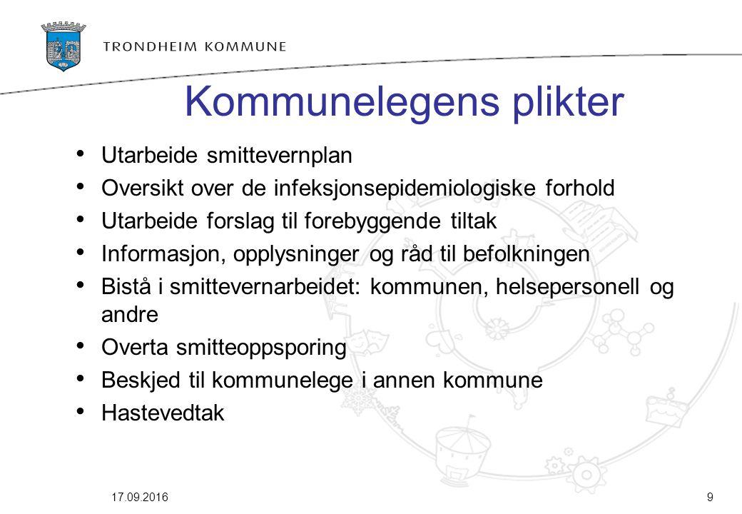 9 Kommunelegens plikter Utarbeide smittevernplan Oversikt over de infeksjonsepidemiologiske forhold Utarbeide forslag til forebyggende tiltak Informas