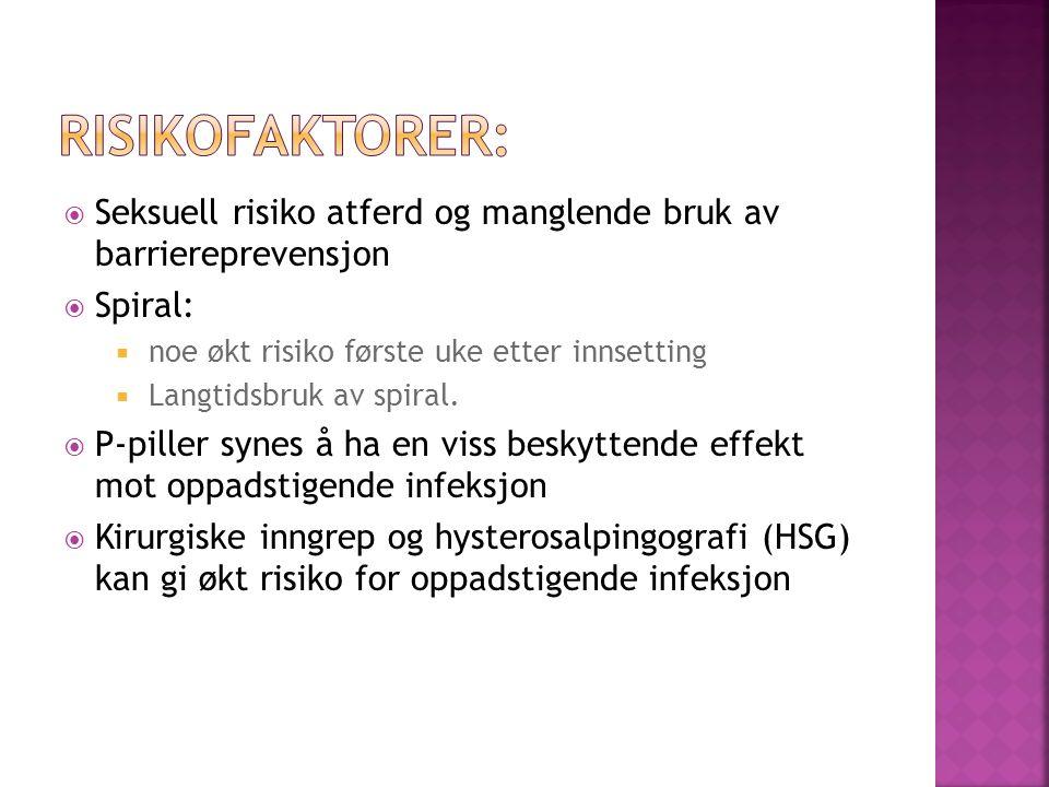  Seksuell risiko atferd og manglende bruk av barriereprevensjon  Spiral:  noe økt risiko første uke etter innsetting  Langtidsbruk av spiral.