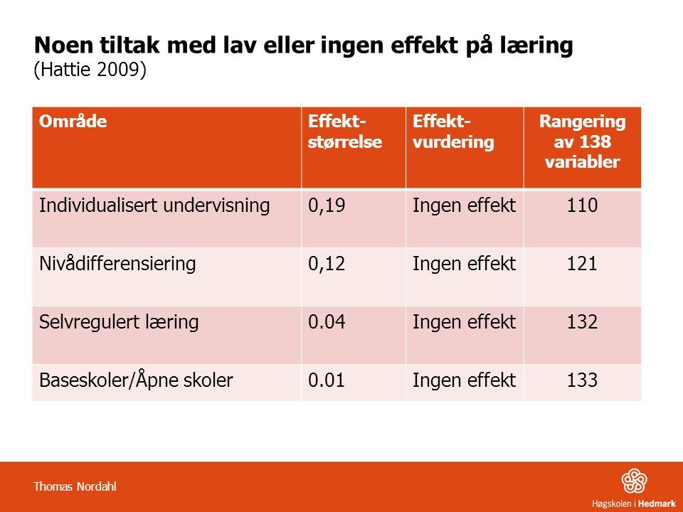Noen tiltak med lav eller ingen effekt på læring (Hattie 2009) OmrådeEffekt- størrelse Effekt- vurdering Rangering av 138 variabler Individualisert un