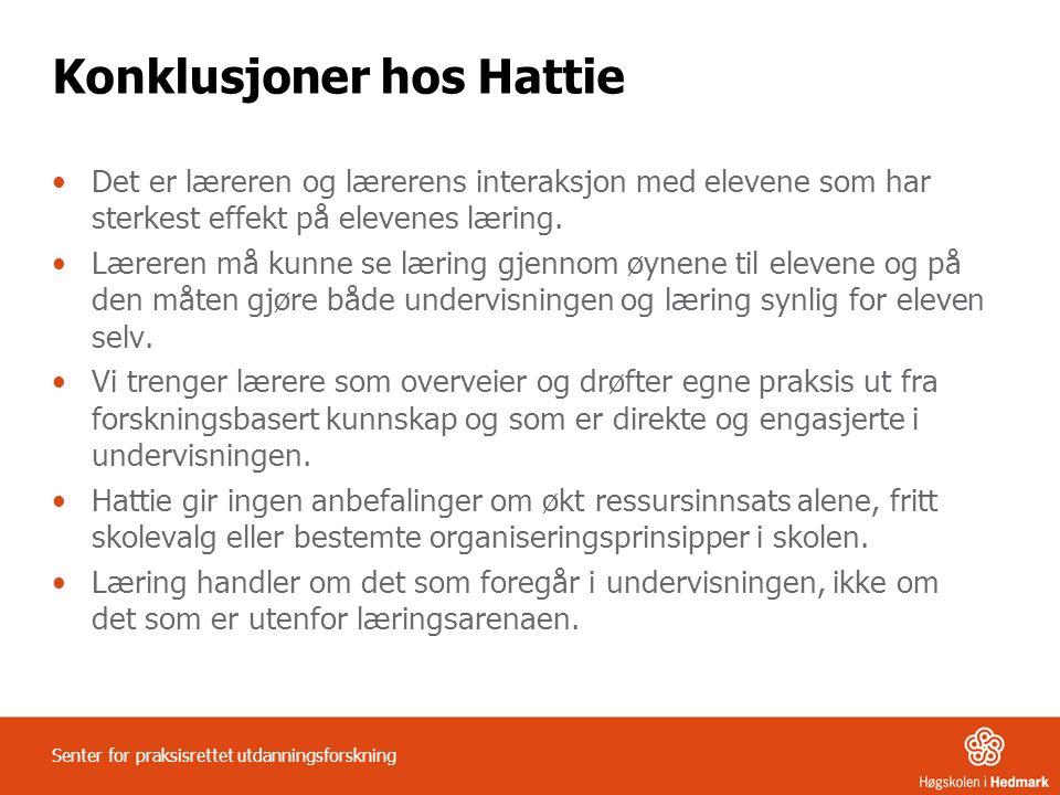 Konklusjoner hos Hattie Det er læreren og lærerens interaksjon med elevene som har sterkest effekt på elevenes læring. Læreren må kunne se læring gjen