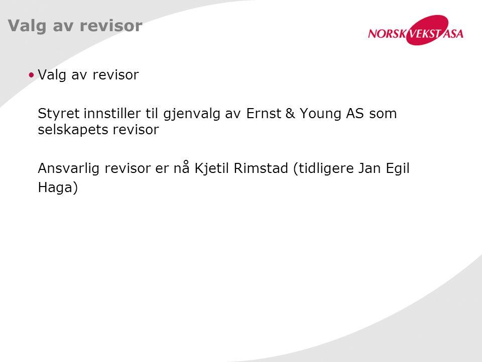 Valg av revisor Styret innstiller til gjenvalg av Ernst & Young AS som selskapets revisor Ansvarlig revisor er nå Kjetil Rimstad (tidligere Jan Egil H