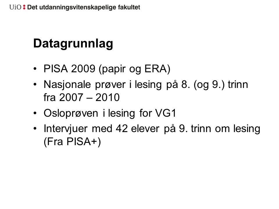 Datagrunnlag PISA 2009 (papir og ERA) Nasjonale prøver i lesing på 8.