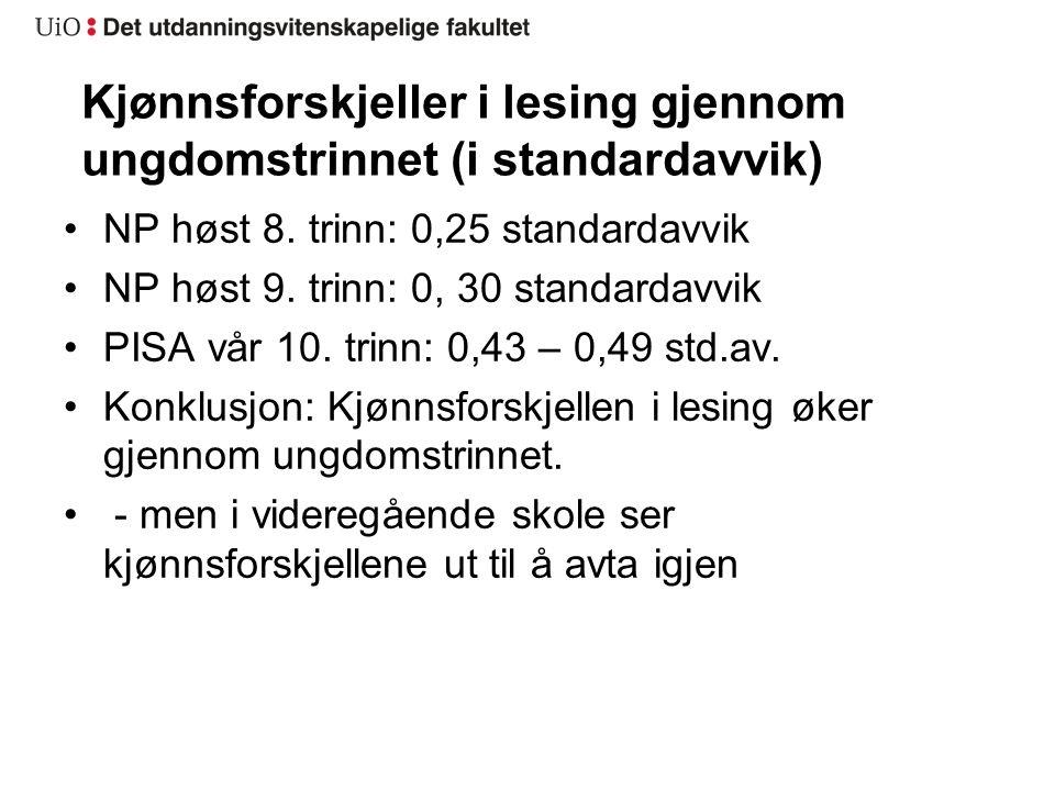 Kjønnsforskjeller i lesing gjennom ungdomstrinnet (i standardavvik) NP høst 8.