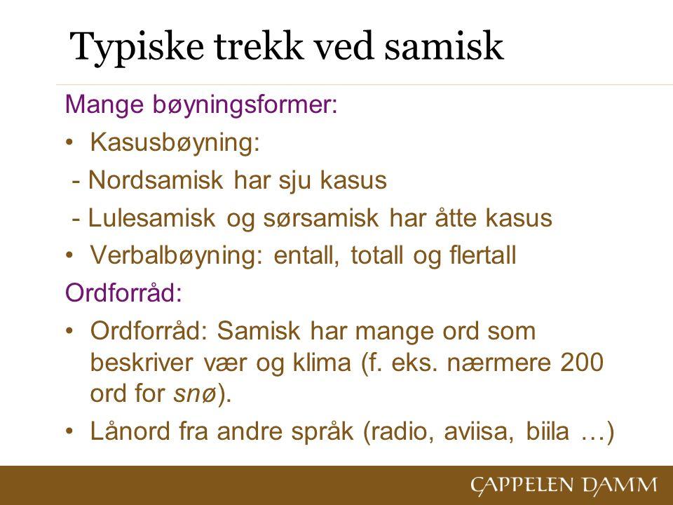 Typiske trekk ved samisk Mange bøyningsformer: Kasusbøyning: - Nordsamisk har sju kasus - Lulesamisk og sørsamisk har åtte kasus Verbalbøyning: entall, totall og flertall Ordforråd: Ordforråd: Samisk har mange ord som beskriver vær og klima (f.