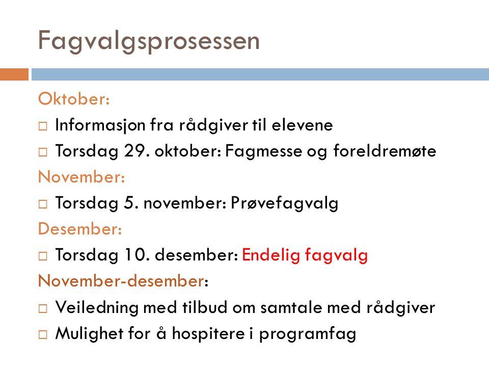 Fagvalgsprosessen Oktober:  Informasjon fra rådgiver til elevene  Torsdag 29.