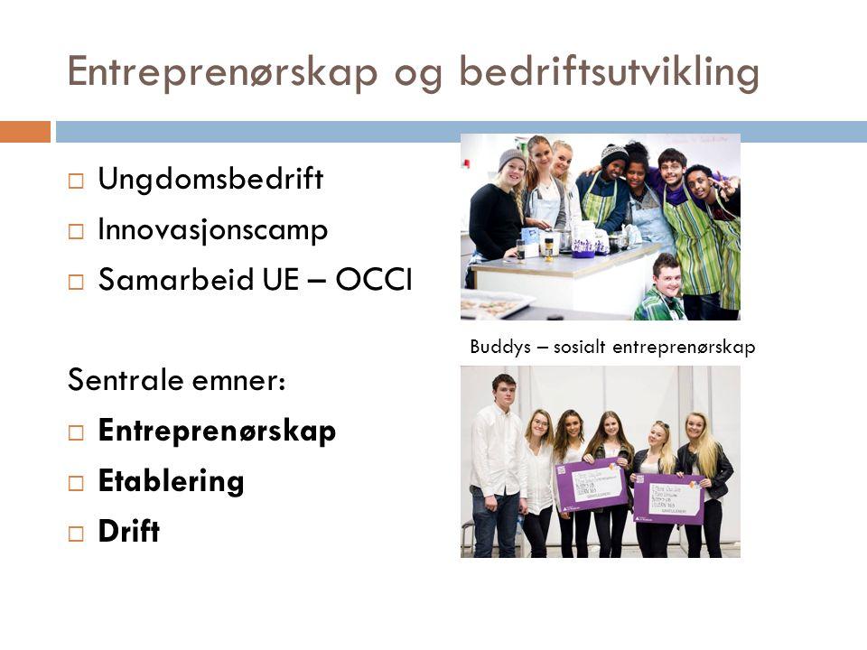 Entreprenørskap og bedriftsutvikling  Ungdomsbedrift  Innovasjonscamp  Samarbeid UE – OCCI Sentrale emner:  Entreprenørskap  Etablering  Drift Buddys – sosialt entreprenørskap