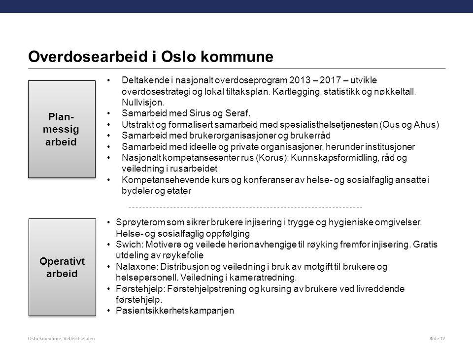 Overdosearbeid i Oslo kommune Oslo kommune, VelferdsetatenSide 12 Plan- messig arbeid Operativt arbeid Operativt arbeid Deltakende i nasjonalt overdoseprogram 2013 – 2017 – utvikle overdosestrategi og lokal tiltaksplan.