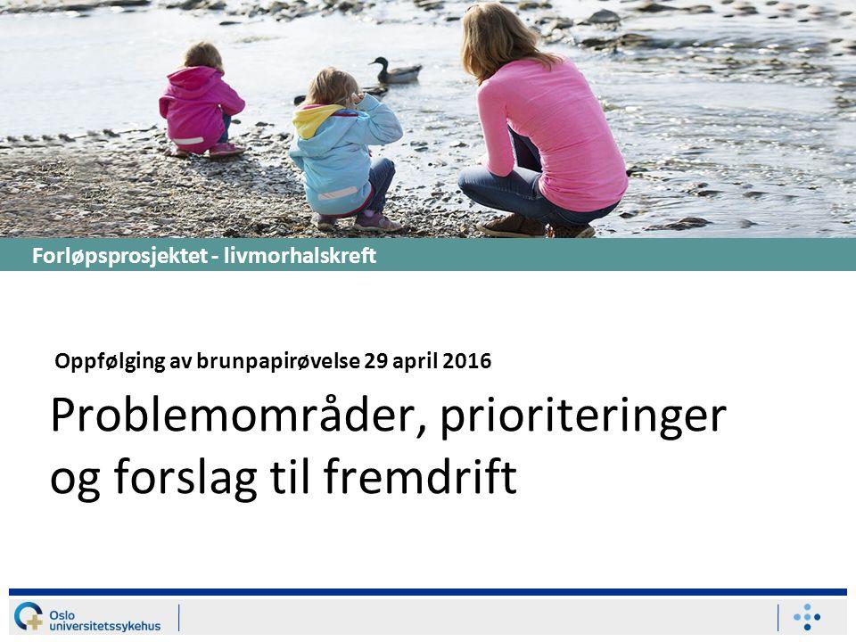 Høy innsats Stor effekt Liten effekt Forløpsprosjektet - livmorhalskreft Problemområder, prioriteringer og forslag til fremdrift Oppfølging av brunpapirøvelse 29 april 2016
