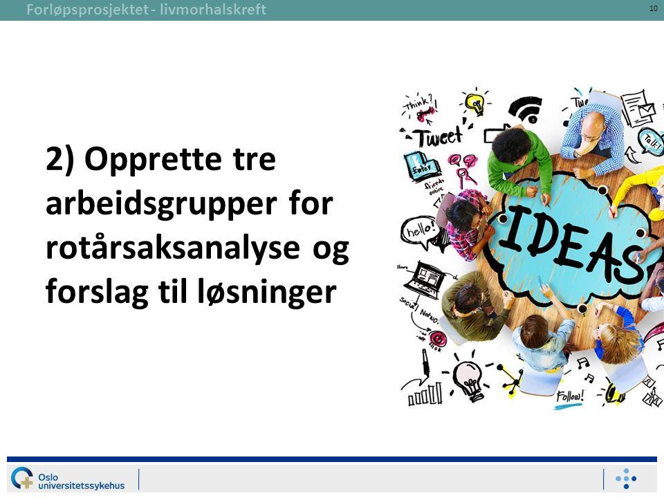 Forløpsprosjektet - livmorhalskreft 10 2) Opprette tre arbeidsgrupper for rotårsaksanalyse og forslag til løsninger