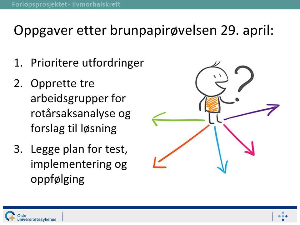 Forløpsprosjektet - livmorhalskreft Oppgaver etter brunpapirøvelsen 29. april: 1.Prioritere utfordringer 2.Opprette tre arbeidsgrupper for rotårsaksan