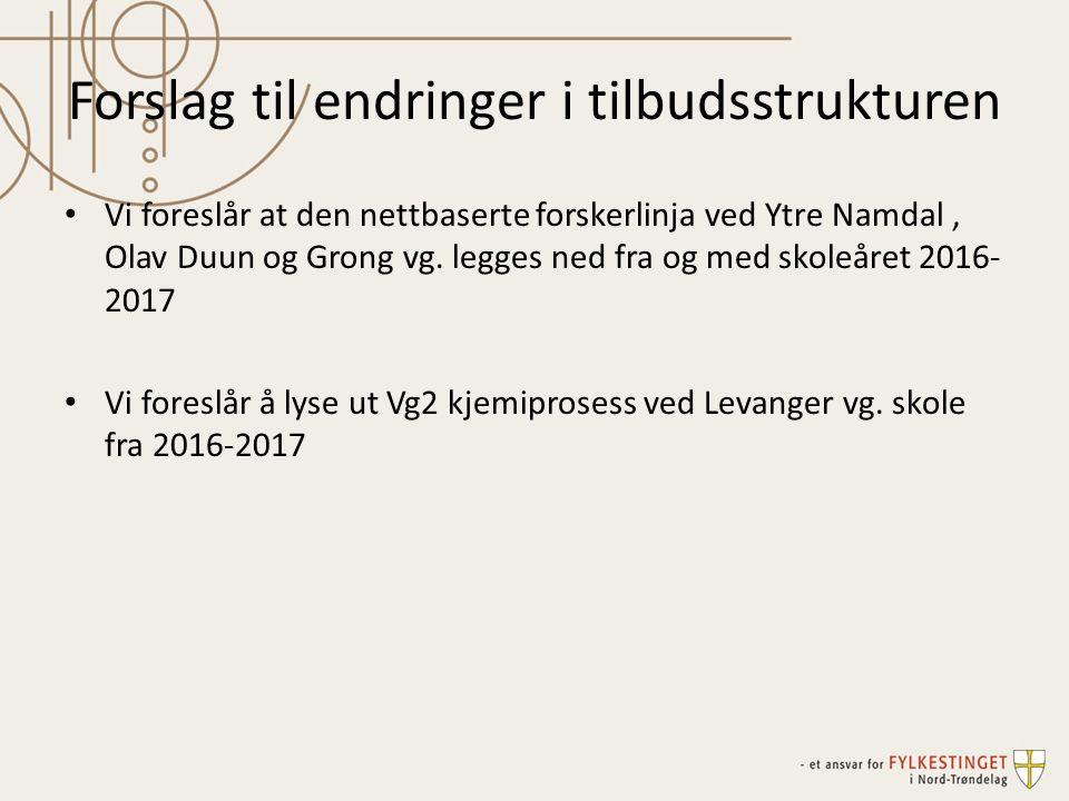 Forslag til endringer i tilbudsstrukturen Vi foreslår at den nettbaserte forskerlinja ved Ytre Namdal, Olav Duun og Grong vg.