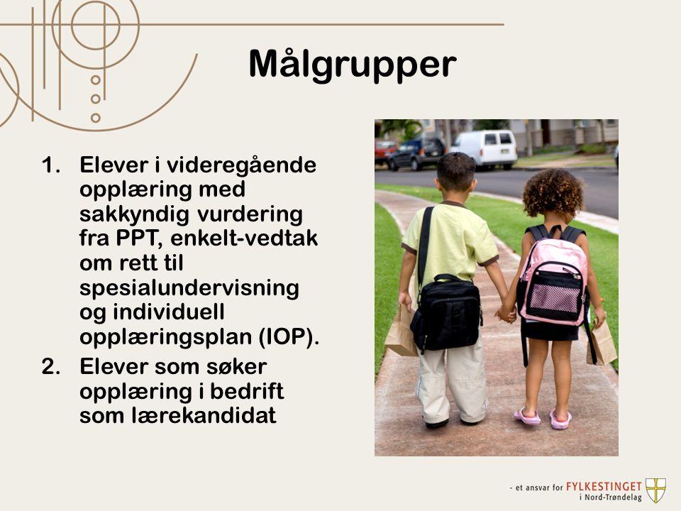 Målgrupper 1.Elever i videregående opplæring med sakkyndig vurdering fra PPT, enkelt-vedtak om rett til spesialundervisning og individuell opplæringsplan (IOP).