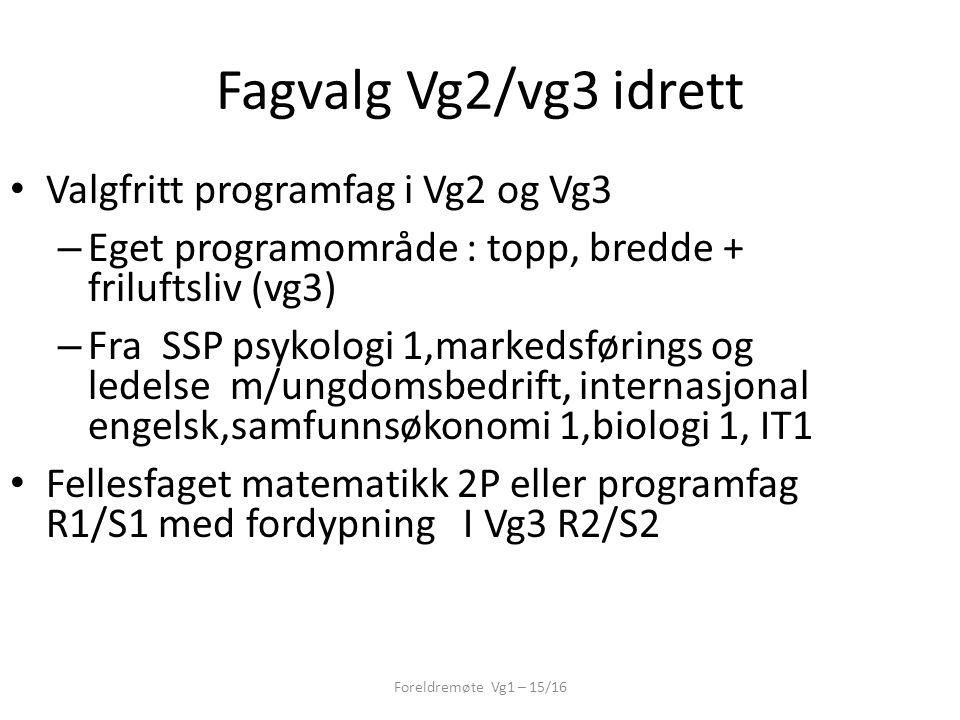 Fagvalg Vg2/vg3 idrett Foreldremøte Vg1 – 15/16 Valgfritt programfag i Vg2 og Vg3 – Eget programområde : topp, bredde + friluftsliv (vg3) – Fra SSP ps