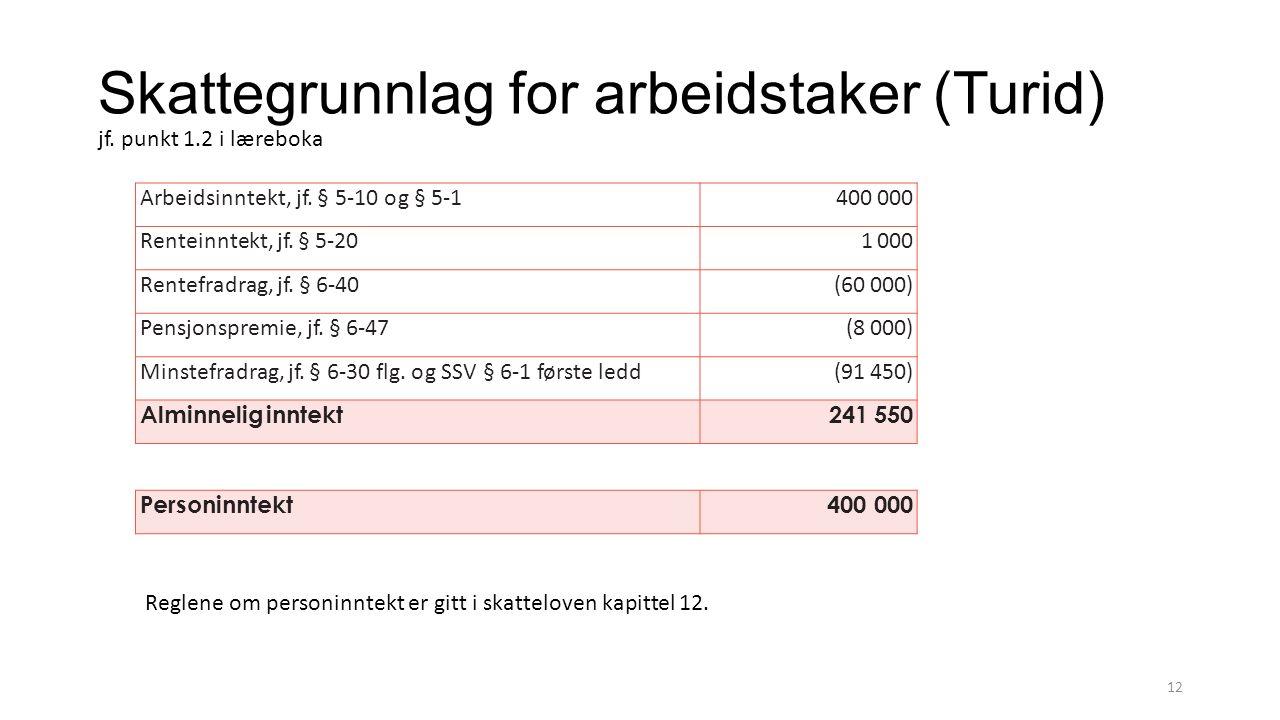 Skattegrunnlag for arbeidstaker (Turid) jf. punkt 1.2 i læreboka 12 Arbeidsinntekt, jf.