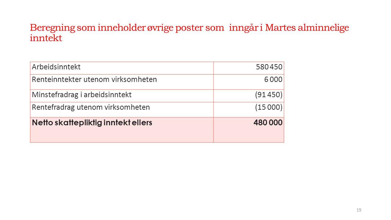 Beregning som inneholder øvrige poster som inngår i Martes alminnelige inntekt 19 Arbeidsinntekt580 450 Renteinntekter utenom virksomheten6 000 Minstefradrag i arbeidsinntekt(91 450) Rentefradrag utenom virksomheten(15 000) Netto skattepliktig inntekt ellers480 000