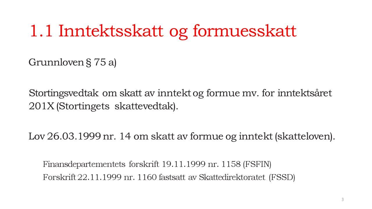 1.1 Inntektsskatt og formuesskatt Grunnloven § 75 a) Stortingsvedtak om skatt av inntekt og formue mv.