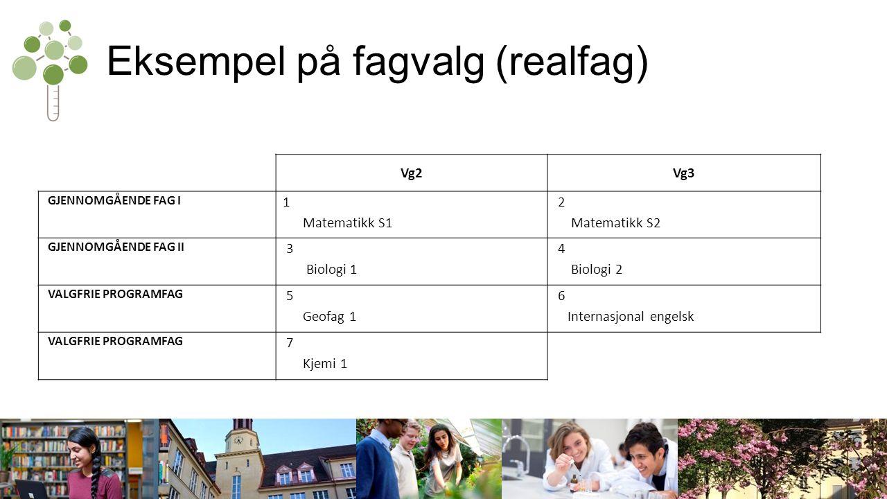 Eksempel på fagvalg (realfag) Vg2Vg3 GJENNOMGÅENDE FAG I 1 Matematikk S1 2 Matematikk S2 GJENNOMGÅENDE FAG II 3 Biologi 1 4 Biologi 2 VALGFRIE PROGRAMFAG 5 Geofag 1 6 Internasjonal engelsk VALGFRIE PROGRAMFAG 7 Kjemi 1