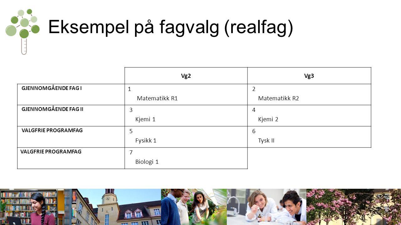 Eksempel på fagvalg (realfag) Vg2Vg3 GJENNOMGÅENDE FAG I 1 Matematikk R1 2 Matematikk R2 GJENNOMGÅENDE FAG II 3 Kjemi 1 4 Kjemi 2 VALGFRIE PROGRAMFAG