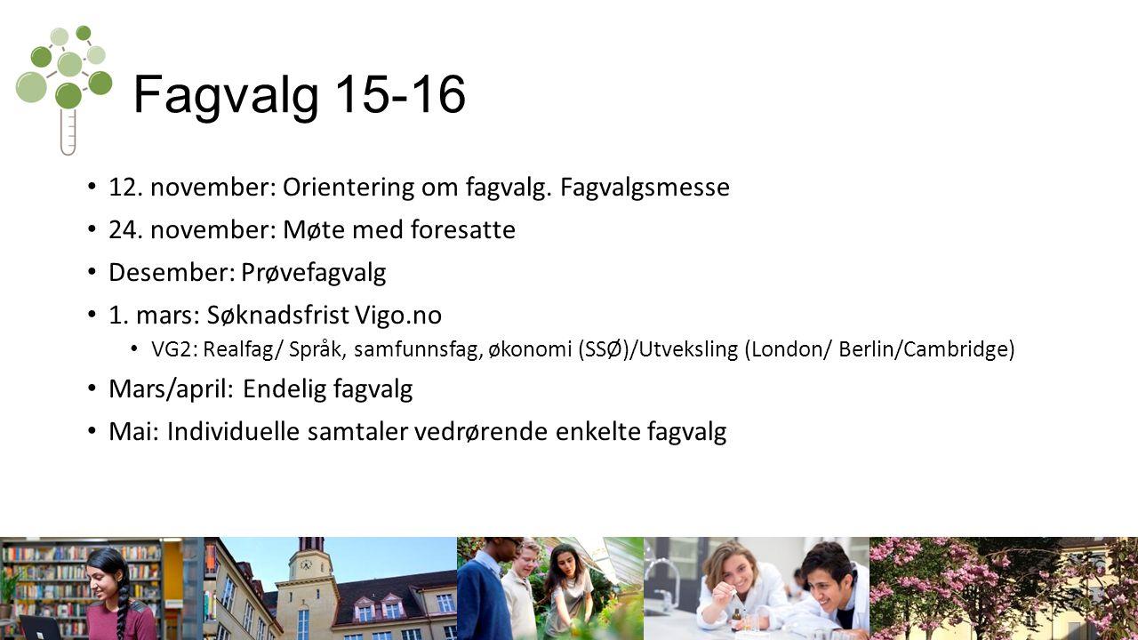 Fagvalg 15-16 12. november: Orientering om fagvalg.