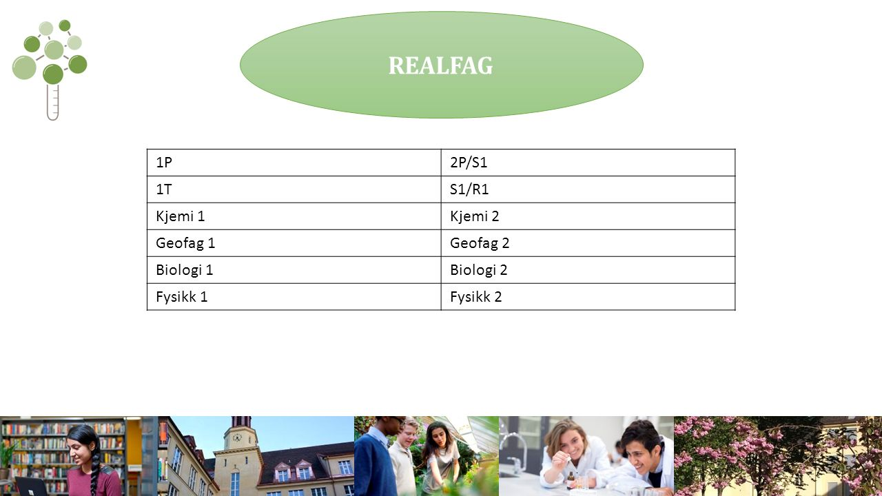 REALFAG 1P2P/S1 1TS1/R1 Kjemi 1Kjemi 2 Geofag 1Geofag 2 Biologi 1Biologi 2 Fysikk 1Fysikk 2