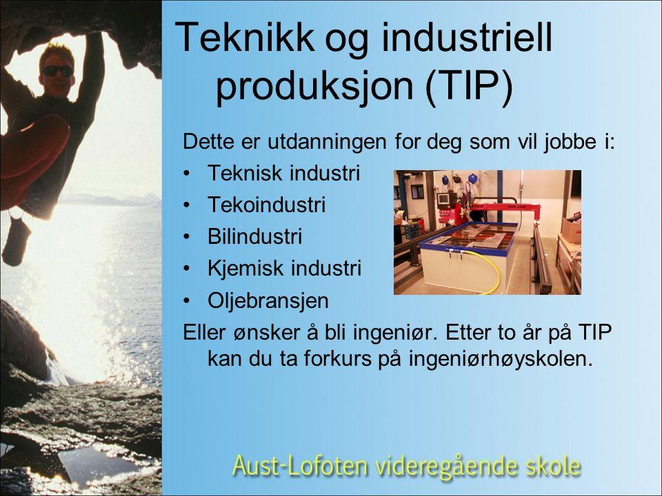 Teknikk og industriell produksjon (TIP) Dette er utdanningen for deg som vil jobbe i: Teknisk industri Tekoindustri Bilindustri Kjemisk industri Oljebransjen Eller ønsker å bli ingeniør.
