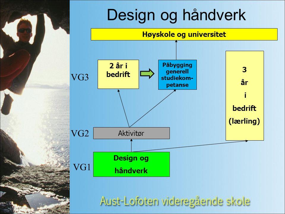 Design og håndverk Aktivitør 3 år i bedrift (lærling) 2 år i bedrift Høyskole og universitet VG3 VG1 VG2 Design og håndverk Påbygging generell studiekom- petanse