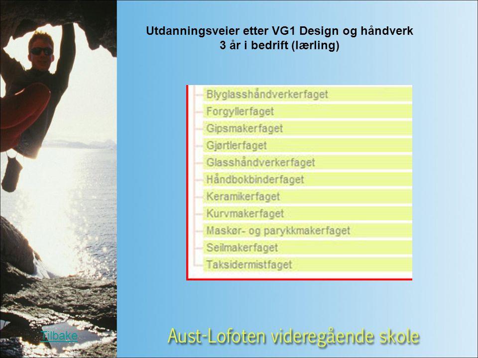 Utdanningsveier etter VG1 Design og håndverk 3 år i bedrift (lærling) Tilbake