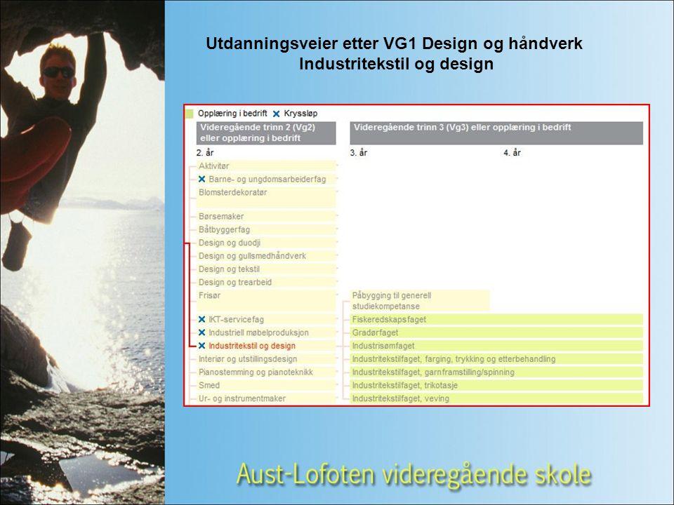 Utdanningsveier etter VG1 Design og håndverk Industritekstil og design