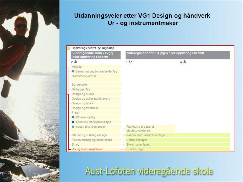 Utdanningsveier etter VG1 Design og håndverk Ur - og instrumentmaker