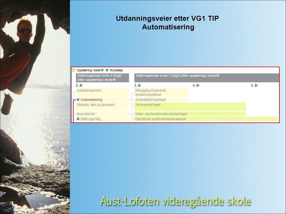 Utdanningsveier etter VG1 TIP Automatisering