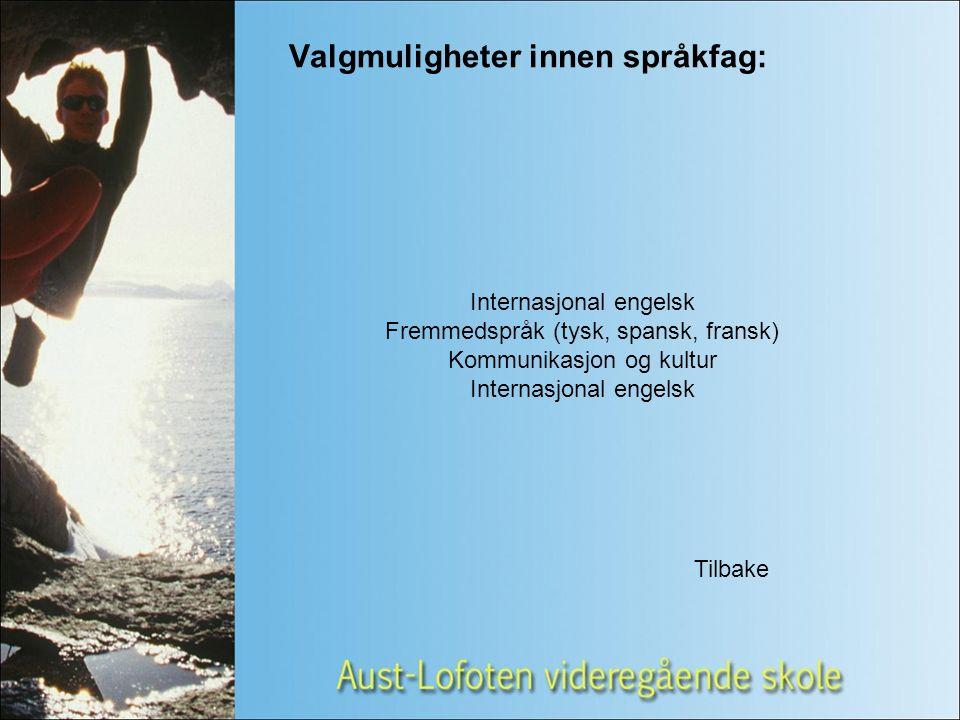 Valgmuligheter innen språkfag: Internasjonal engelsk Fremmedspråk (tysk, spansk, fransk) Kommunikasjon og kultur Internasjonal engelsk Tilbake