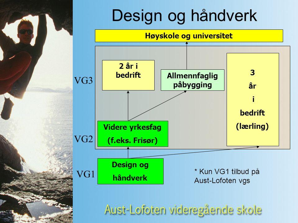 Design og håndverk Videre yrkesfag (f.eks.
