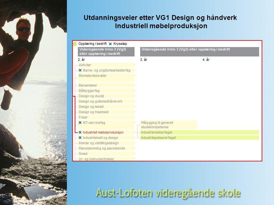 Utdanningsveier etter VG1 Design og håndverk Industriell møbelproduksjon