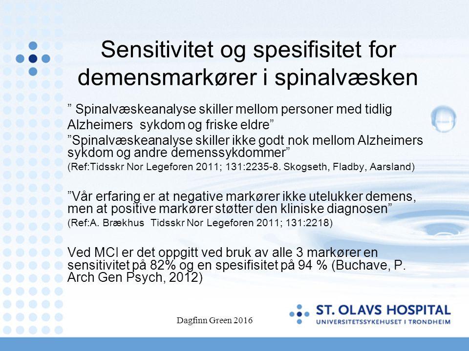 "Sensitivitet og spesifisitet for demensmarkører i spinalvæsken "" Spinalvæskeanalyse skiller mellom personer med tidlig Alzheimers sykdom og friske eld"