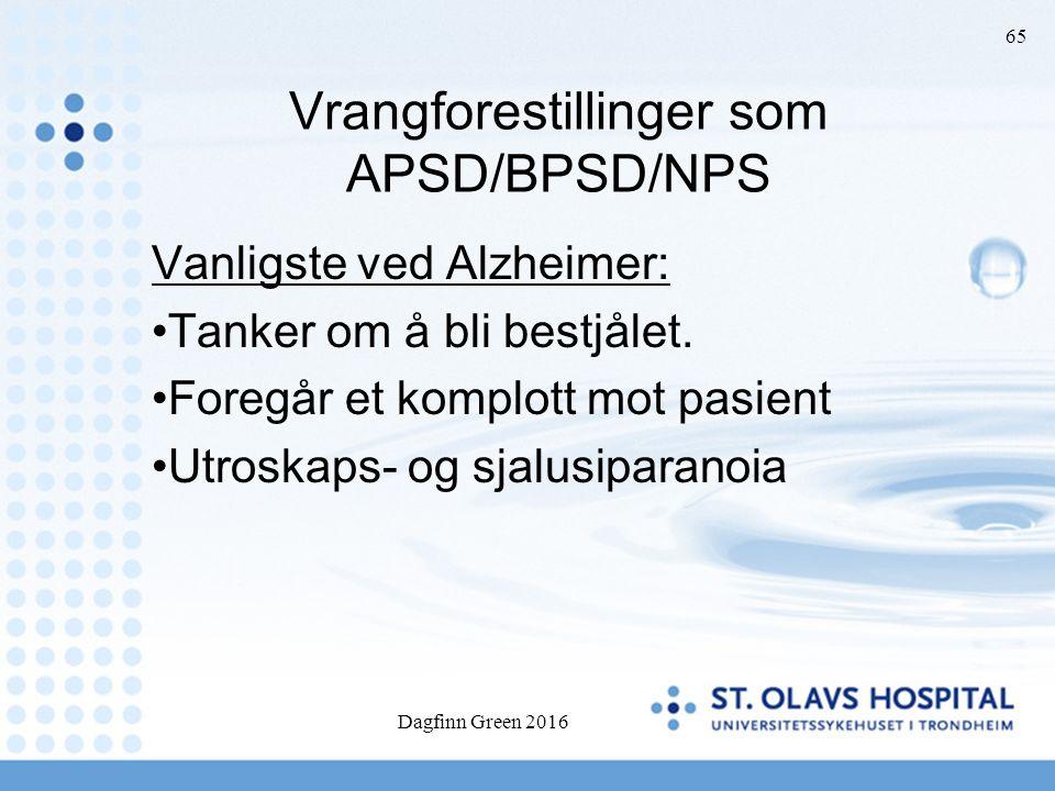 65 Vrangforestillinger som APSD/BPSD/NPS Vanligste ved Alzheimer: Tanker om å bli bestjålet. Foregår et komplott mot pasient Utroskaps- og sjalusipara
