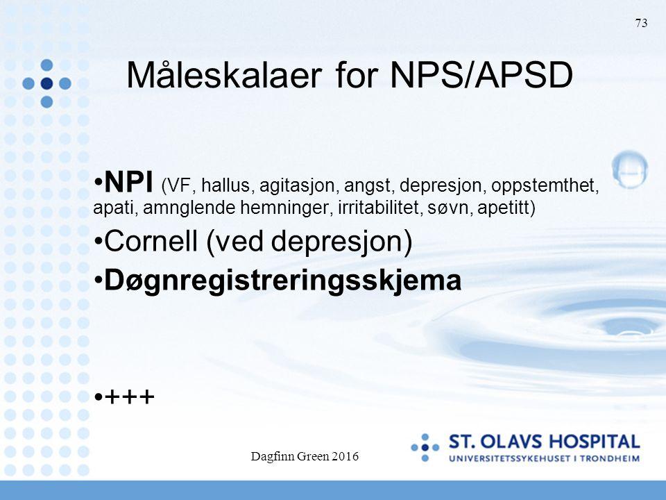 Dagfinn Green 2016 73 Måleskalaer for NPS/APSD NPI (VF, hallus, agitasjon, angst, depresjon, oppstemthet, apati, amnglende hemninger, irritabilitet, s