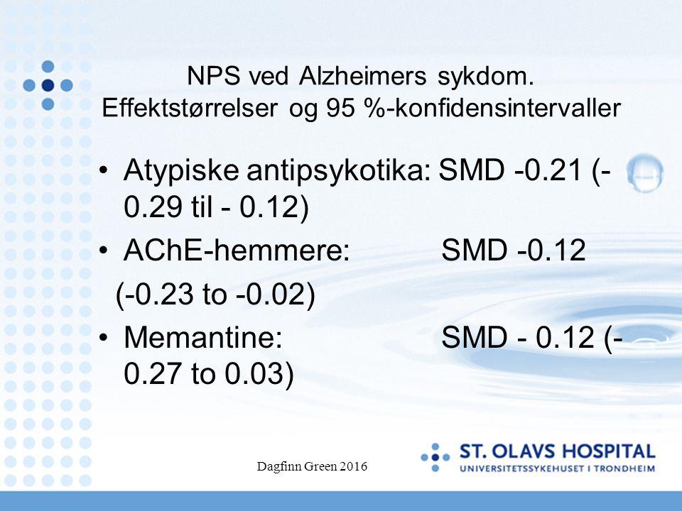 NPS ved Alzheimers sykdom. Effektstørrelser og 95 %-konfidensintervaller Atypiske antipsykotika: SMD -0.21 (- 0.29 til - 0.12) AChE-hemmere: SMD -0.12