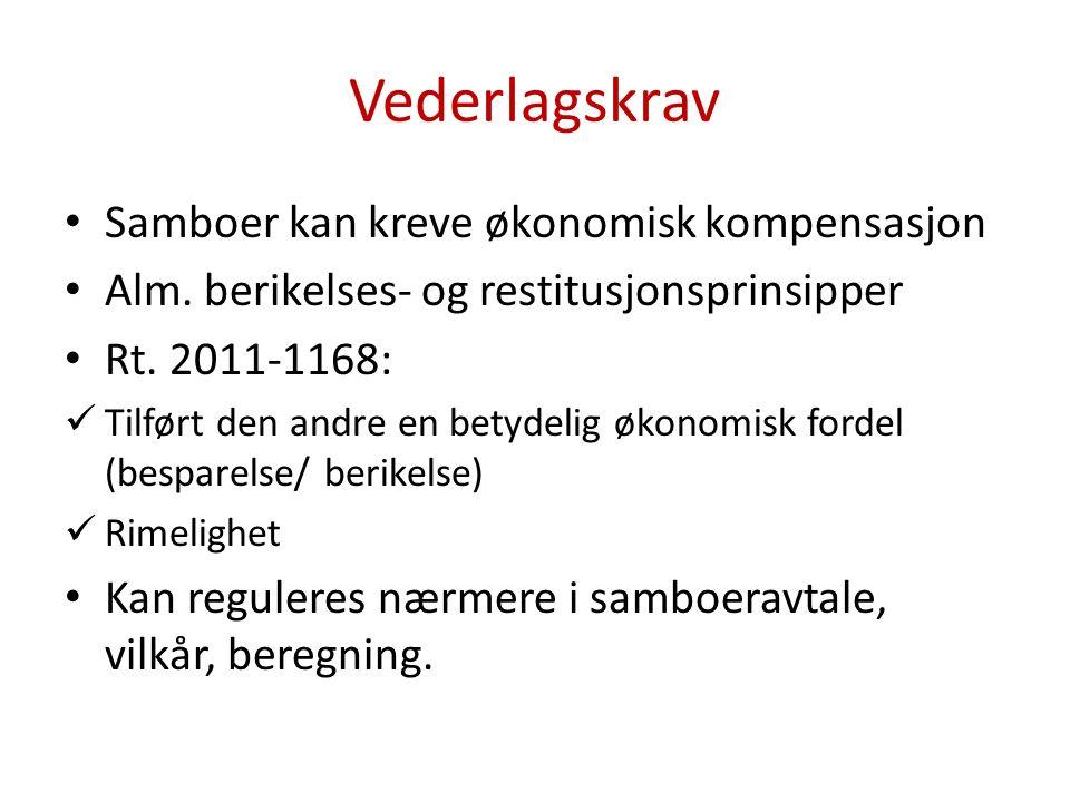 Vederlagskrav Samboer kan kreve økonomisk kompensasjon Alm.