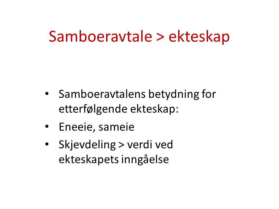 Samboeravtale > ekteskap Samboeravtalens betydning for etterfølgende ekteskap: Eneeie, sameie Skjevdeling > verdi ved ekteskapets inngåelse