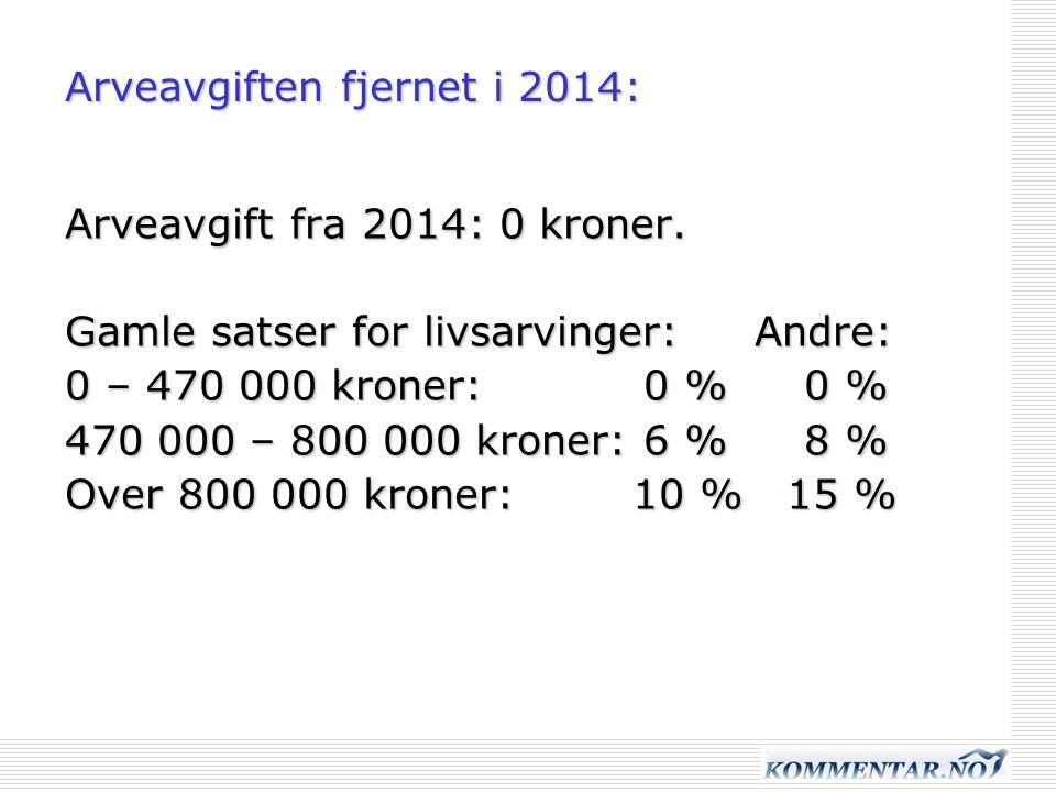 Arveavgiften fjernet i 2014: Arveavgift fra 2014: 0 kroner.