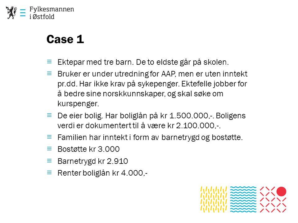 Case 1 ≡ Ektepar med tre barn. De to eldste går på skolen. ≡ Bruker er under utredning for AAP, men er uten inntekt pr.dd. Har ikke krav på sykepenger