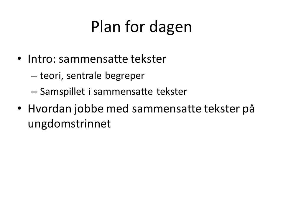 Plan for dagen Intro: sammensatte tekster – teori, sentrale begreper – Samspillet i sammensatte tekster Hvordan jobbe med sammensatte tekster på ungdomstrinnet