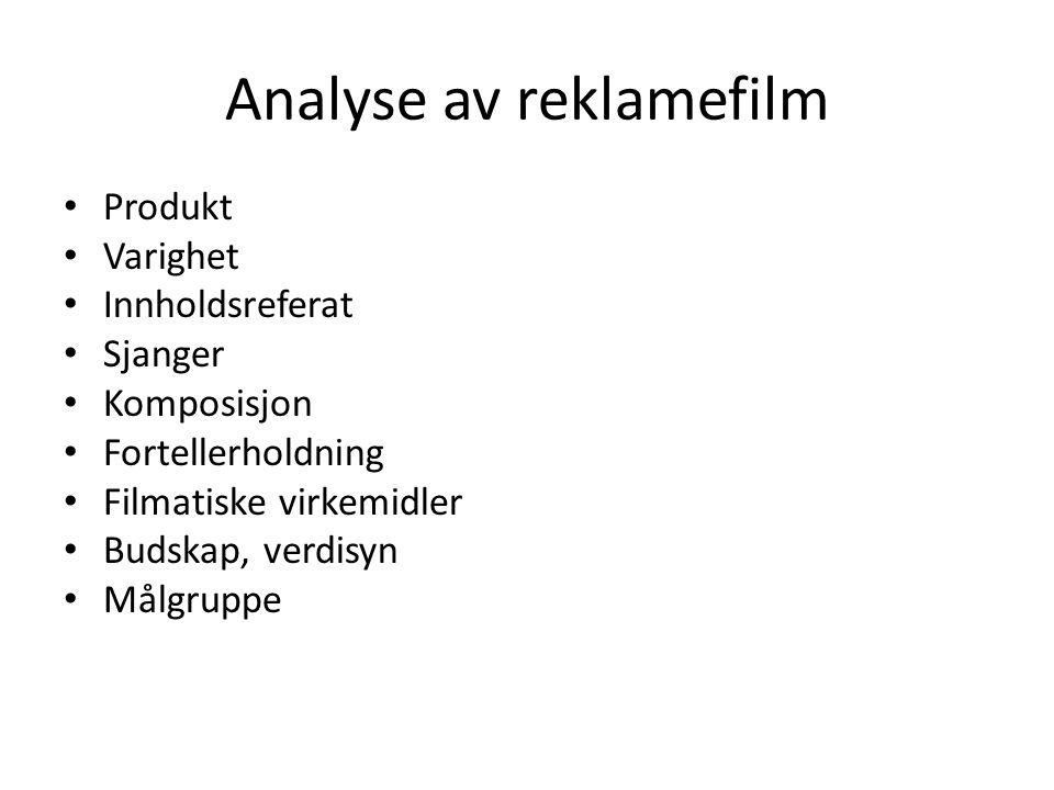 Analyse av reklamefilm Produkt Varighet Innholdsreferat Sjanger Komposisjon Fortellerholdning Filmatiske virkemidler Budskap, verdisyn Målgruppe