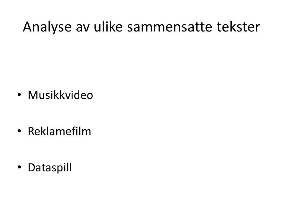 Analyse av ulike sammensatte tekster Musikkvideo Reklamefilm Dataspill