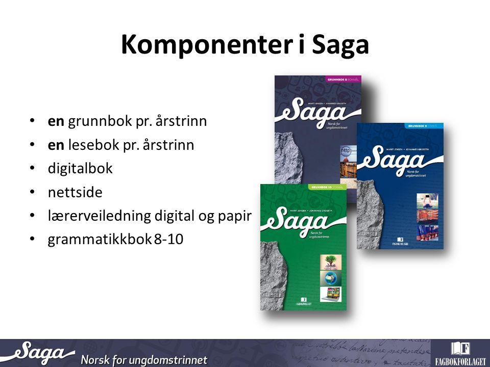 Komponenter i Saga en grunnbok pr. årstrinn en lesebok pr. årstrinn digitalbok nettside lærerveiledning digital og papir grammatikkbok 8-10
