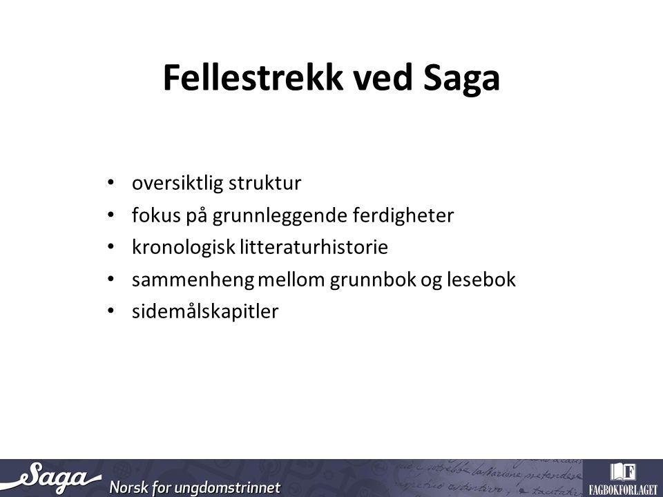 Fellestrekk ved Saga oversiktlig struktur fokus på grunnleggende ferdigheter kronologisk litteraturhistorie sammenheng mellom grunnbok og lesebok sidemålskapitler